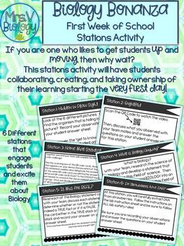 Biology Bonanza-First Week of School Station Activity