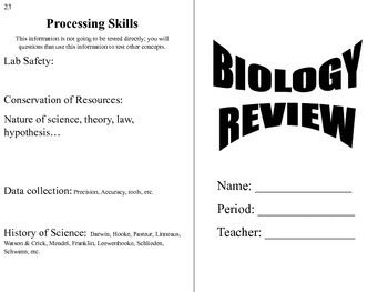 Biology Booklet! End of Year Review flip book