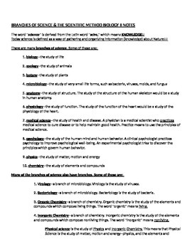 Biology Branches of Science & Scientific Method Lecture and Student Study Guide
