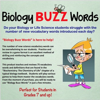 Biology Buzz Words: Biochemistry and the Chemistry of Life Vocabulary Games