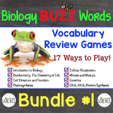 Biology Buzz Words Bundle #1 Vocabulary Review Games