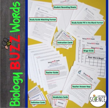 Biology Buzz Words: Cell Structure and Function and Transport Vocabulary Games