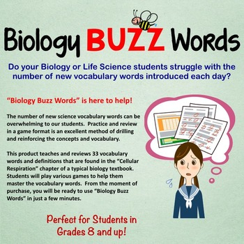 Biology Buzz Words: Cellular Respiration Vocabulary Review Games