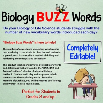 Biology Buzz Words: DNA RNA Protein Synthesis Vocabulary Review Games