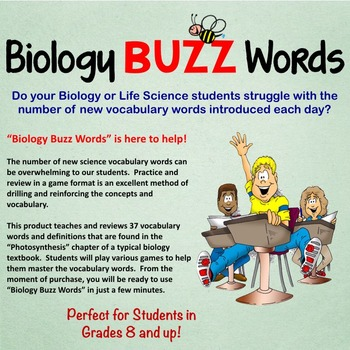 Biology Buzz Words: Photosynthesis Vocabulary Review Games
