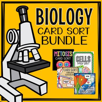 Biology Card Sort Bundle - Cells, Organ Systems, Mitosis, Flower Anatomy