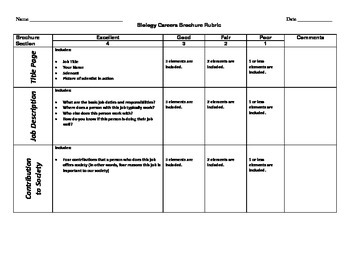Biology Careers - Brochure Project with Career Strips for Random Assignment