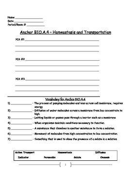 Cell Transport - Active and Passive Transport Worksheet; Osmosis; Diffusion