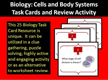 Biology: Cells and Body Systems Task Cards & Review Activity-Unique and Engaging