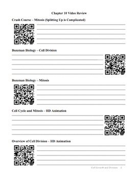Biology - Chapter 10: Cell Growth and Division Study Guide (with QR Codes)