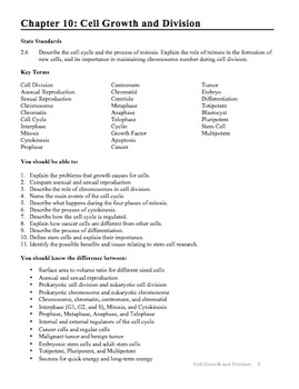 Biology - Chapter 10: Cell Growth and Division Study Guide
