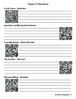 Biology - Chapter 17: Evolution of Populations Study Guide (with QR codes)