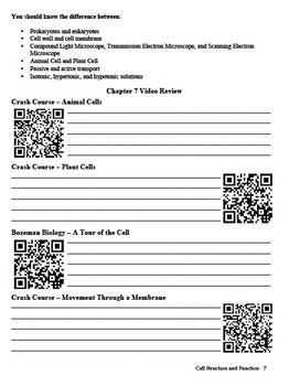 Biology - Chapter 7: Cell Structure and Function Study Guide (with QR codes)