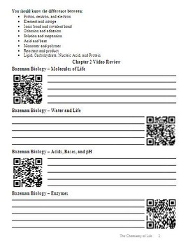 Biology - Chapter 2: Chemistry of Life Chapter Guide (with QR codes)