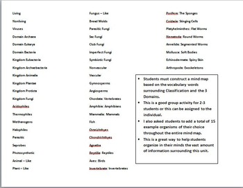 Biology Classification and Kingdoms Unit Mind Mapping (No Prep & Key)