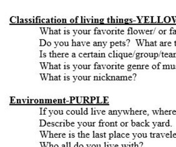 Biology Colored Cards Activity