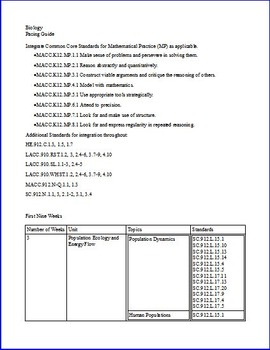 Biology Common Core Aligned Pacing Guide with NGSSS (Florida Specific)