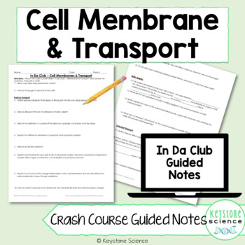 Biology Crash Course Cell Membrane Transport Guided Notes with Answer Key