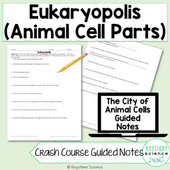 Biology Crash Course Parts of Eukaryotic Cell Guided Notes and KEY