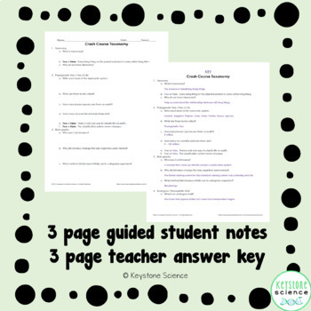 Biology Crash Course Taxonomy Guided Notes, KEY, and Homework Check