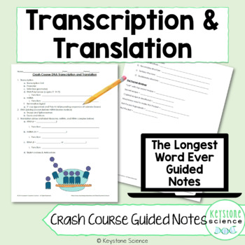 Biology Crash Course Protein Synthesis Transcription Translation Guided Notes