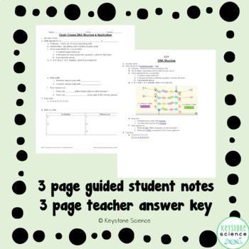 Biology Crash Couse DNA Structure Guided Notes with Answer Key