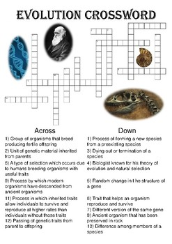 Speciation puzzle teaching resources teachers pay teachers biology crossword puzzle evolution includes solution malvernweather Choice Image