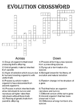Biology Crossword Puzzle: Evolution (Includes Solution)