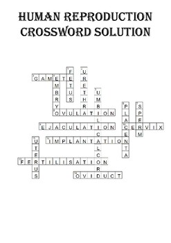 Biology Crossword Puzzle: Human Reproduction (Includes Solution)