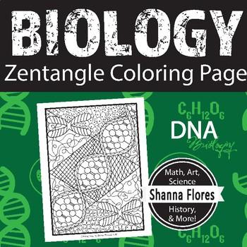 Biology: DNA Zen Coloring Page; Cells, Nucleus, DNA