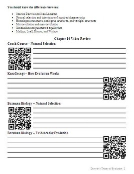 Biology - Darwin's Theory of Evolution Chapter Guide (with QR codes)