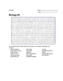Biology #05 - Diversity of Living Things - Wordsearch Puzzle