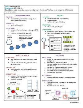 Biology EOC Quick Review MACROMOLECULES SC.912.L.18.1