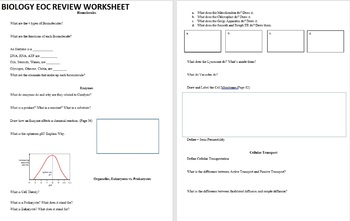 Biology EOC Review Worksheet