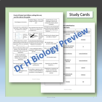 Biology EOC Review - Evolution & Classification {Study Cards Included}