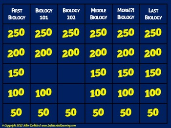 Biology End Of Course Exam Review Jeopardy Style Game FL Standards