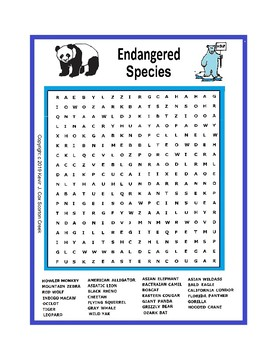 Biology Endangered Species Word Search or wordsearch