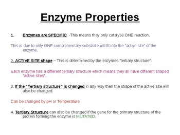 Biology - Enzymes.