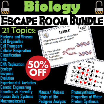 Biology Escape Room Science Bundle