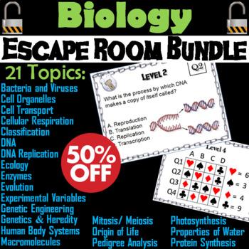Biology Escape Room Science: Genetics, Heredity, Mitosis, Meiosis, Evolution etc