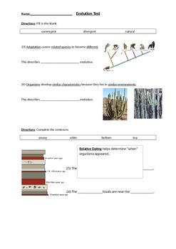 Biology: Evolution (Visually Adapted for ELL/ESL) Summative Exam