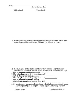Biology Exam- Inheritance