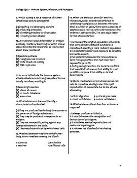 High School Biology Exam - The Immune System