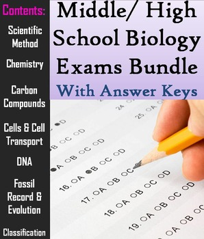 Biology Tests Bundle: Middle or High School Appropriate - Science