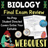 Biology EOC Review WebQuest - Reviews ENTIRE Year! With Bonus Study Guide!