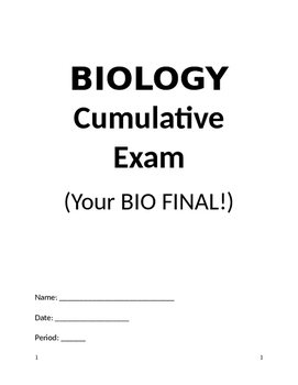 Biology Final Exam - Short
