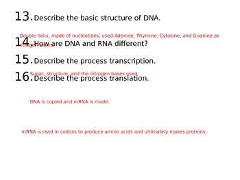 Biology Final Review Questions