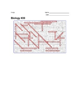 Biology #20 - Fungi - Wordsearch Puzzle
