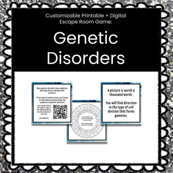 Biology Genetic Disorders Breakout Game (Content Below)