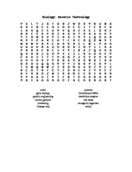 Biology: Genetic Technology Word Search